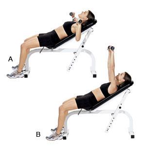 female incline dumbbell bench press