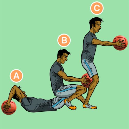 Medicine-Ball-Rolling squat