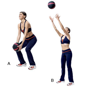 medicine ball curl catches
