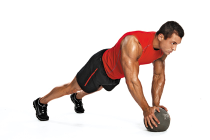 medicine ball tricep-push-up