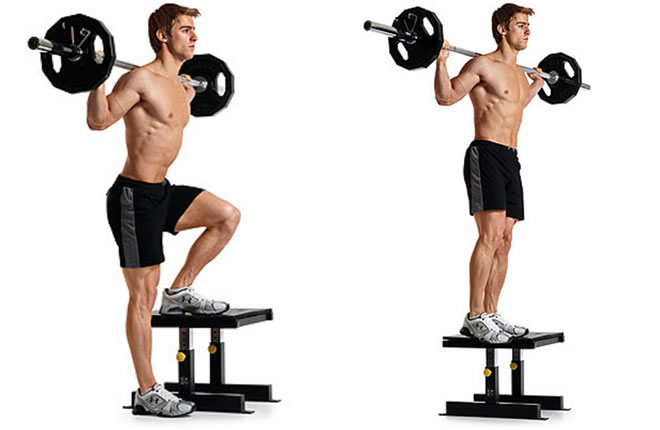 step ups with barbell