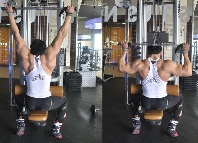 medium-grip behind-the-neck pulldowns