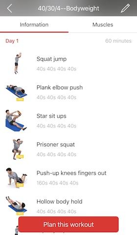 Workout Plan 訓練菜單