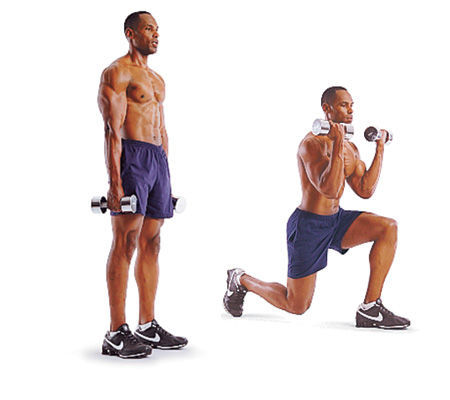lunge to bicep curl